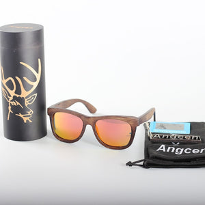 Angcen Luxury Deer Full Frame Dark Wooden Sunglasses With Beautiful Design on Temples and Round Wooden Box-Sunglasses-Bamboo Sunnies