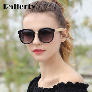 Ralferty Round Oversized Bamboo Leg Sunglasses with UV400 lenses-Sunglasses-Bamboo Sunnies