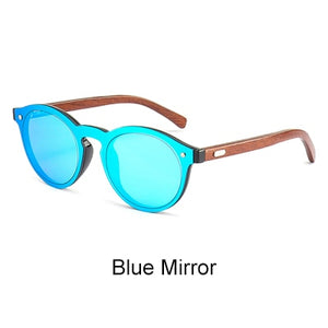 Ralferty Mirror Rimless Style with Dark Bamboo Temples and UV400 Lenses-Sunglasses-Bamboo Sunnies