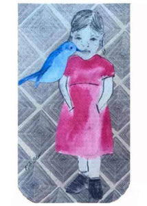 Girl with Blue Bird by Marie Van Elder GO POCKET