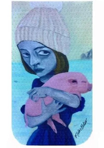 Girl with Piglet by Marie Van Elder GO POCKET