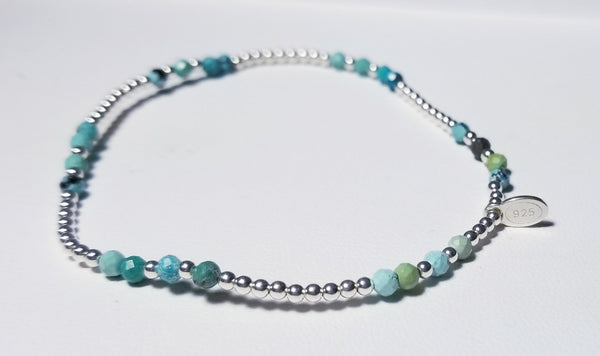Mini Jade Stones and Silver Beads Bracelet