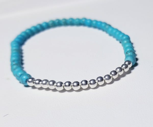 Turquoises with Silver Beads