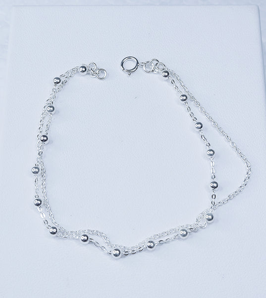 Sterling Silver Layered Ball Bracelet