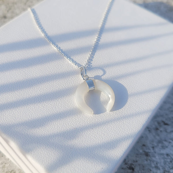 White Moon Necklace (shell moon)