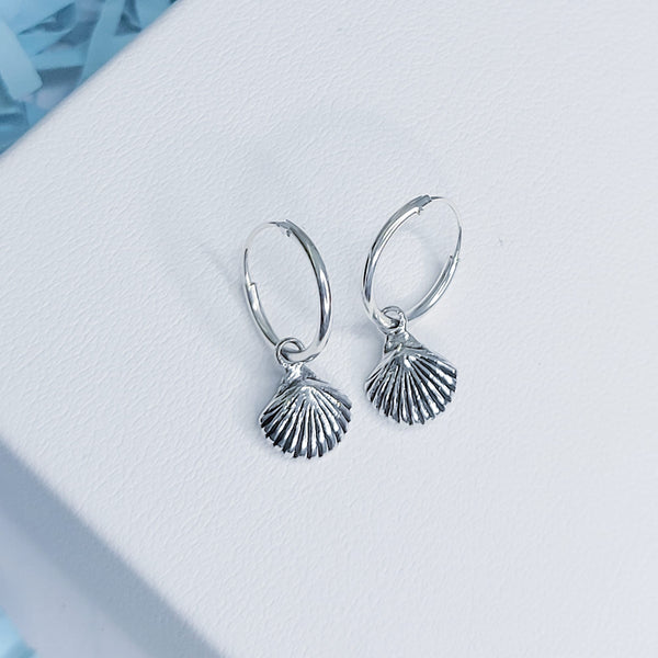Sterling Silver Hoops with Shell