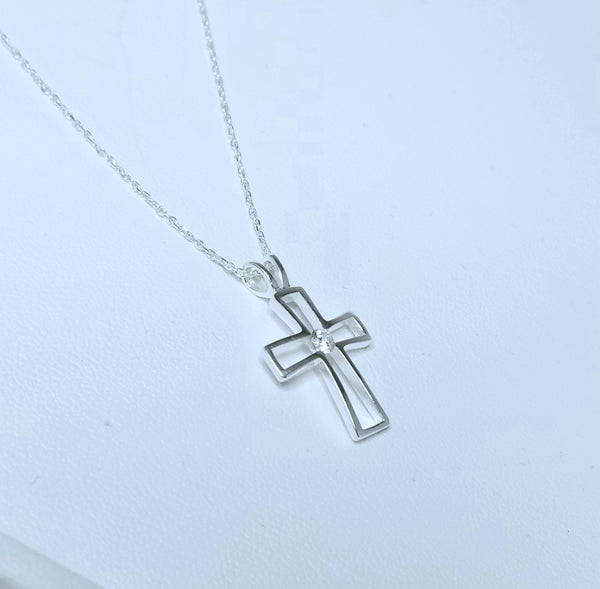 Protective Cross with CZ Necklace