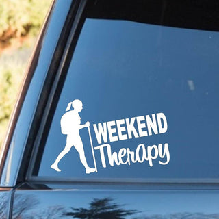 Hiking Girl Weekend Therapy Decal Sticker