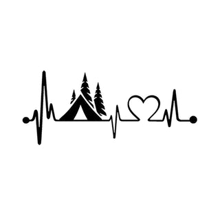 Tent Camper Heartbeat Decal
