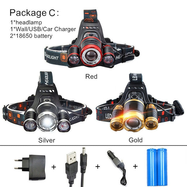 LED Super Bright Zoomable Headlamp with 15000Lm...