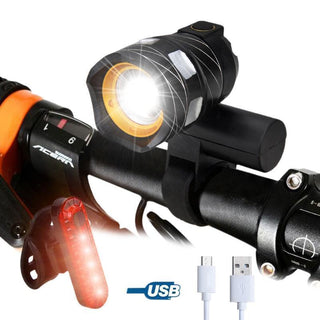 Super Bright Adjustable Bicycle Headlamp 15000 Lumens with Tail Light