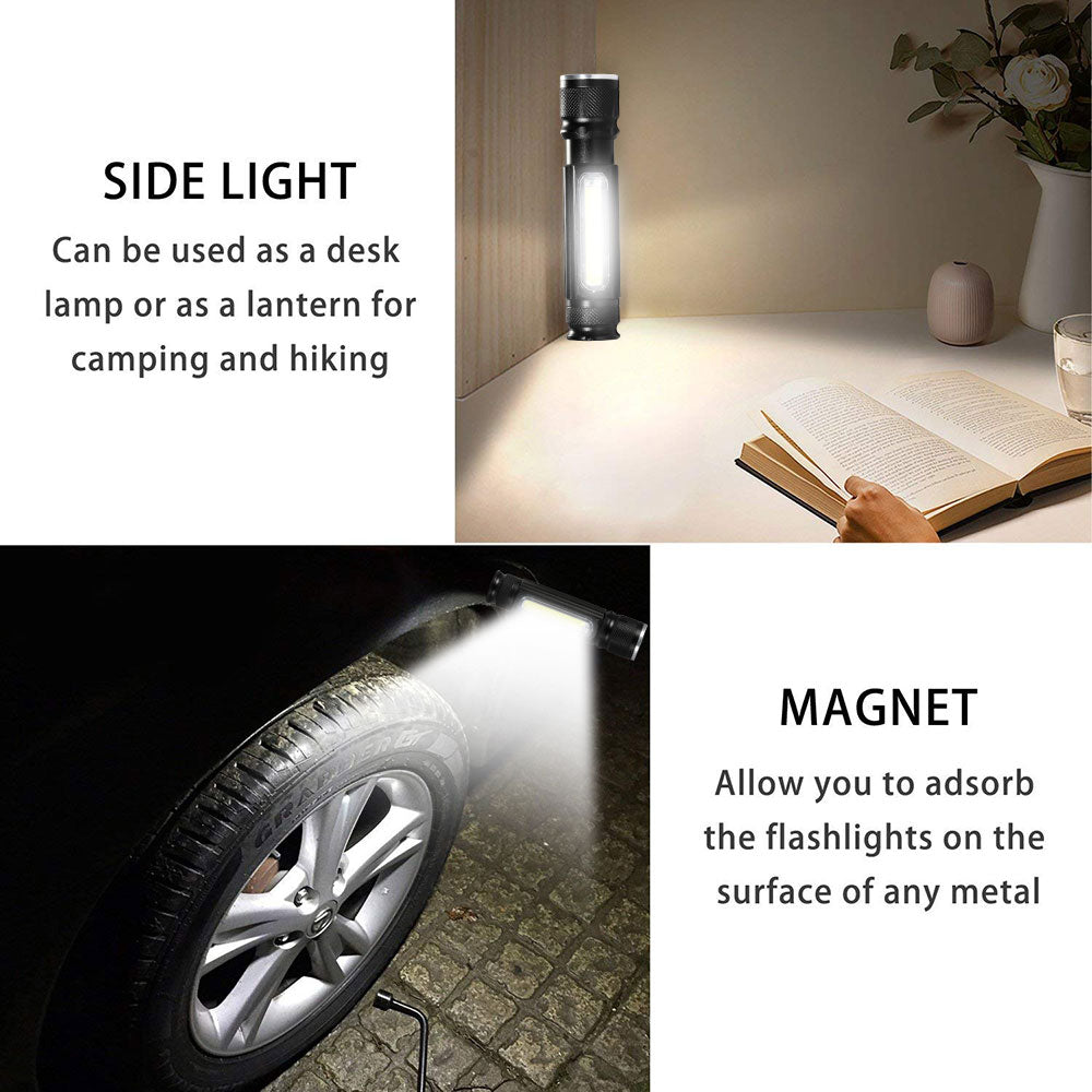 USB Rechargeable Torch Side COB Flashlight with tail magnet