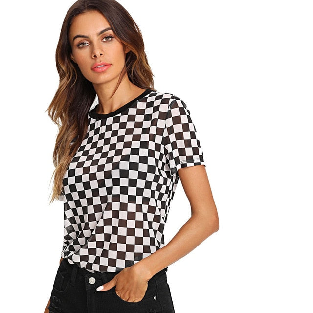 24f0919ded SHEIN Plaid Print Semi Sheer Tee Women Round Neck Short Sleeve Clothing  Sexy T-shirt