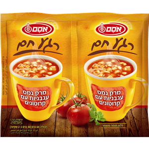 Osem Tomato Instant Soup With Croutons (2 Per Pack 60 grams) Pack of 6