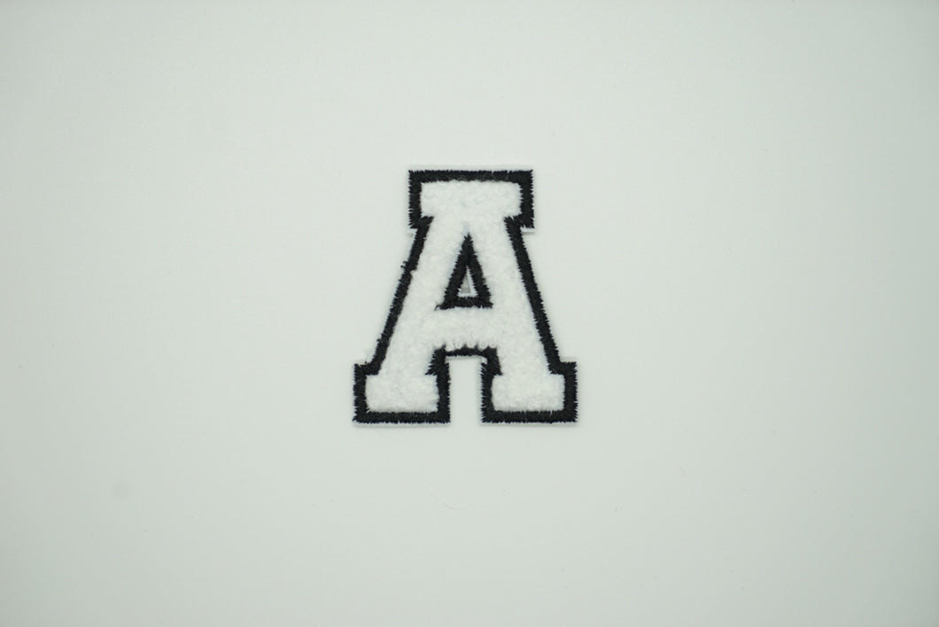 Chenille White Letter Patch
