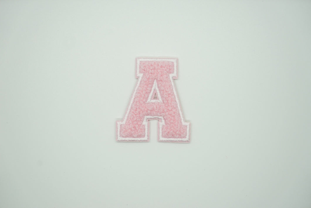 Chenille Pink Letter Patch