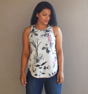 Light Grey Printed Cotton Shell Top