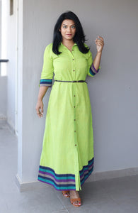 Green Khaadi Cotton Maxi Dress with Belt