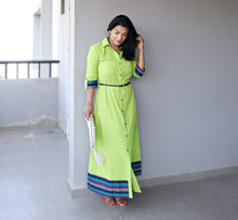 Load image into Gallery viewer, Green Khaadi Cotton Maxi Dress with Belt