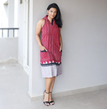 Load image into Gallery viewer, Maroon Ikat Halter Neck A Line Dress