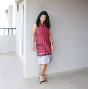 Maroon Ikat Halter Neck A Line Dress
