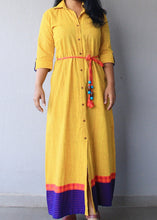Load image into Gallery viewer, Yellow Khaadi Cotton Maxi Dress with Belt
