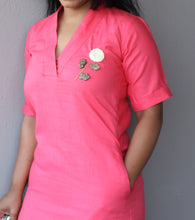 Load image into Gallery viewer, Pink Linen Cotton Shift Dress with Hand Embroidery