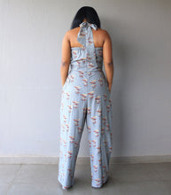 Load image into Gallery viewer, Grey Printed Halterneck Cotton Jumpsuit