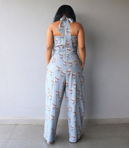 Grey Printed Halterneck Cotton Jumpsuit