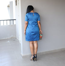 Load image into Gallery viewer, Blue Cotton Silk Shift Dress