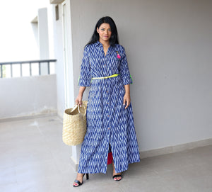 Indigo Handwoven Ikat Cotton Maxi Dress with Belt