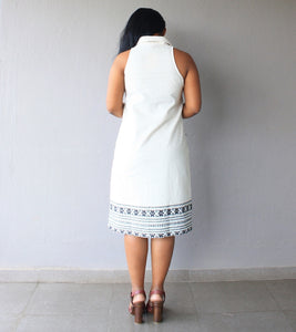 Off White Khaadi Cotton Shift Dress