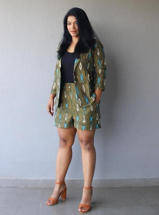 Olive Green Ikat Cotton Coord Set