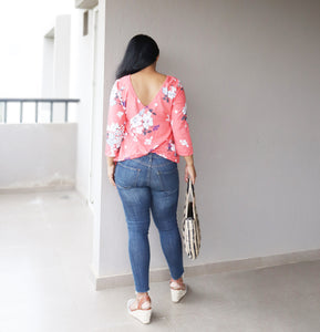 Peach Floral Printed V Back Top