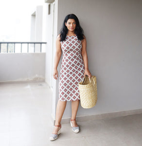 Grey and Maroon Cotton Sheath Dress