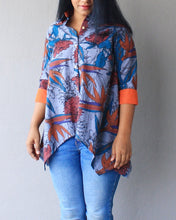Load image into Gallery viewer, Grey Floral Printed Asymmetric Shirt