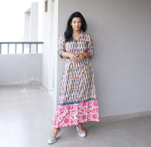 Load image into Gallery viewer, Pink and Grey Ikat Cotton Maxi Dress