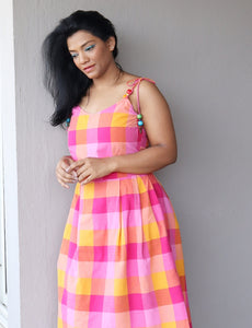 Pink Checkered Midi Dress with Straps