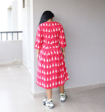 Load image into Gallery viewer, Red Ikat Cotton Midi Dress