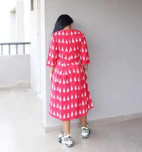 Red Ikat Cotton Midi Dress