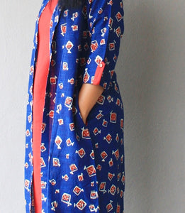 Indigo and Red Set of Two Dresses with pockets and kite print