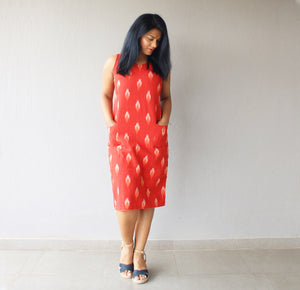 Red Ikat Cotton Shift Dress with Pockets