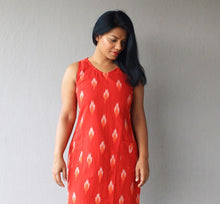 Load image into Gallery viewer, Red Ikat Cotton Shift Dress with Pockets