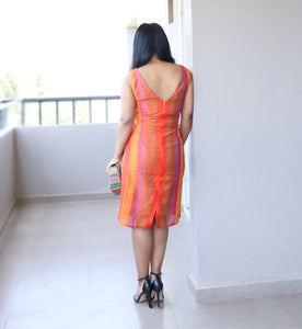 Orange Silk Sheath Dress V Back