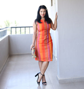 Orange Silk Sheath Dress