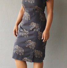 Load image into Gallery viewer, Dark Brown Elephant Printed Sheath Dress