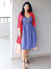 Load image into Gallery viewer, Sripped Indigo Handloom Cotton Dress