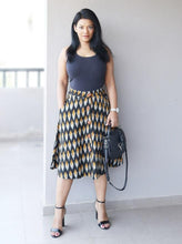 Load image into Gallery viewer, Black Ikat A Line Cotton Skirt
