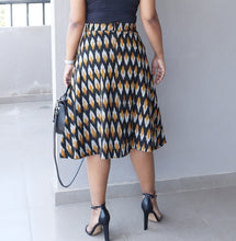 Load image into Gallery viewer, Black and Grey Ikat Cotton A Line Midi Skirt