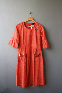 Orange and Pink Handloom Cotton Midi Dress with Embroidery